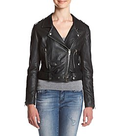 BLANKNYC® Buckle Moto Zip Faux Leather Jacket