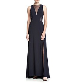 NW Collections Mesh Matte Jersey Long Cocktail Dress