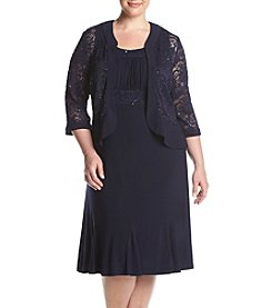 R&M Richards® Plus Size Lace Ruffle Jacket Dress