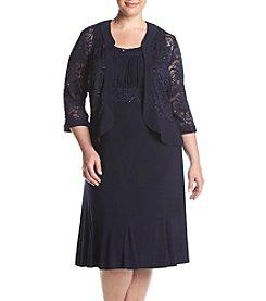 R&M Richards® Plus Size Lace Ruffle Jacket Dress