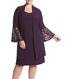 R&M Richards® Plus Size Matte Jersey Lace Jacket Dress
