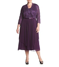 R&M Richards® Plus Size Lace Jacket Dress With Hankie Hem