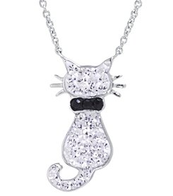Athra Boxed Silver-Plated Crystal Cat Necklace