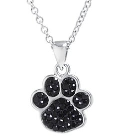 Athra Boxed Silver-Plated Crystal Paw Necklace