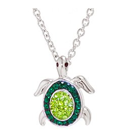 Athra Boxed Silver-Plated Crystal Turtle Necklace