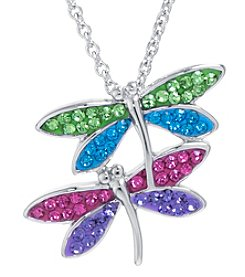 Athra Boxed Silver-Plated Crystal Dragonflies Necklace