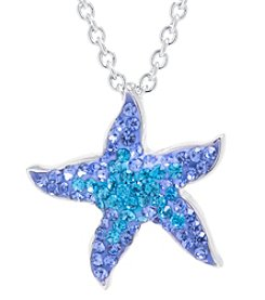 Athra Boxed Silver-Plated Crystal Starfish Necklace