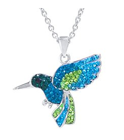 Athra Boxed Silver-Plated Crystal Hummingbird Necklace