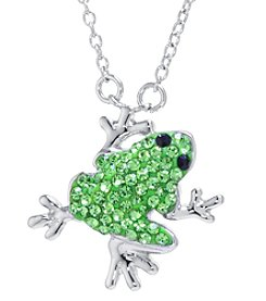 Athra Boxed Silver-Plated Crystal Frog Necklace