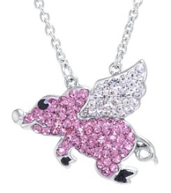 Athra Boxed Silver-Plated Crystal Flying Pig Necklace