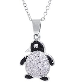 Athra Boxed Silver-Plated Crystal Penguin Necklace