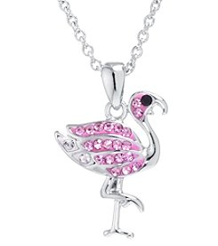 Athra Boxed Silver-Plated Crystal Flamingo Necklace