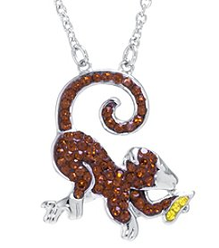 Athra Boxed Silver-Plated Crystal Monkey Necklace