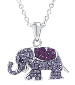 Athra Boxed Silver-Plated Crystal Elephant Necklace