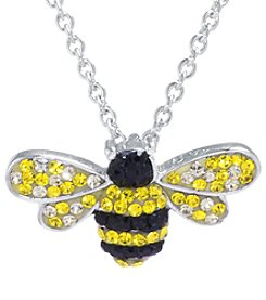 Athra Boxed Silver-Plated Crystal Bee Necklace
