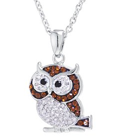 Athra Boxed Silver-Plated Crystal Owl Necklace