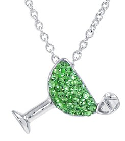 Athra Boxed Silver-Plated Crystal Margarita Cocktail Necklace