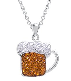 Athra Boxed Silver-Plated Crystal Beer Mug Necklace