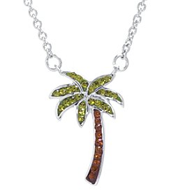 Athra Boxed Silver-Plated Crystal Palm Tree Necklace