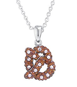 Athra Boxed Silver-Plated Crystal Pretzel Necklace