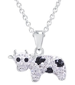 Athra Boxed Silver-Plated Crystal Cow Necklace