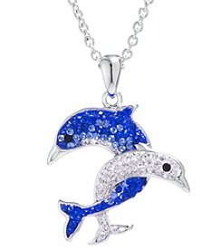 Athra Boxed Silver-Plated Crystal Dolphins Necklace