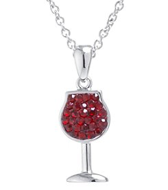 Athra Boxed Silver-Plated Crystal Red Wine Glass Necklace