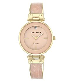 Anne Klein® Goldtone and Blush Marble Bangle Watch