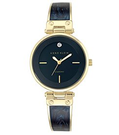 Anne Klein® Goldtone and Navy Marble Bangle Watch