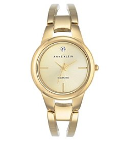 Anne Klein® Goldtone Diamond Dial Bangle Watch