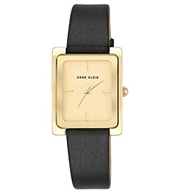 Anne Klein® Goldtone and Black Leather Strap Watch