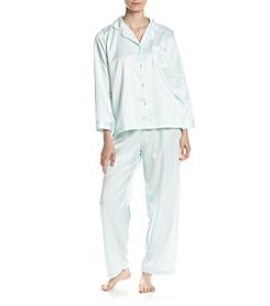 Miss Elaine® Striped Satin Pajama Set