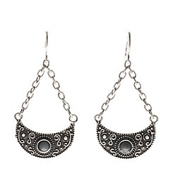 Ruff Hewn Silvertone Crescent Drop Earrings