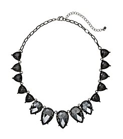 Relativity® Hematite Faceted Teardrop Frontal Necklace