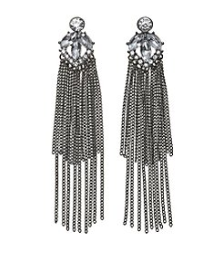 Relativity® Hematite Tone Long Chain Fringe Drop Earrings