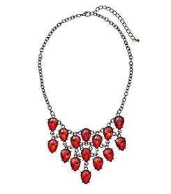 Relativity® Silvertone Teardrop Bib Necklace