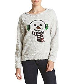 Eyeshadow® Sherpa Snowman Pullover Sweatshirt