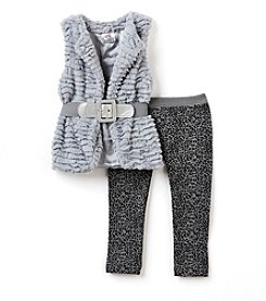 Beautees Girls' 2T-6X 2-Piece Belted Vest And Leopard Leggings Set