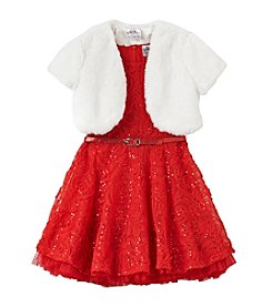 Beautees Girls' 4-6X Glitter Lace Dress with Fur Shrug