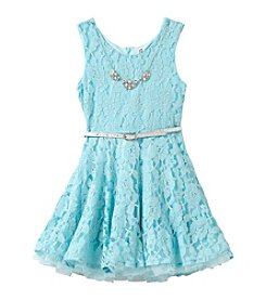 Beautees Girls' 2T-6X Belted Lace Dress with Necklace