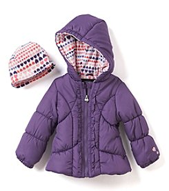 Weather Tamer® Girls' 2T-6X Ruffle Puffer Jacket With Hat