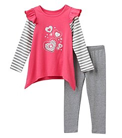 Nannette® Girls' 2T-6X 2-Piece Hearts Tunic and Leggings Set