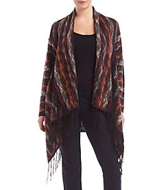 Jessica Simpson Plus Size Printed Cardigan With Fringe Trim