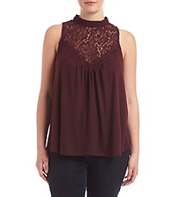 Skylar & Jade™ Plus Size Crochet Yoke Swing Tank