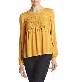 Sequin Hearts® Horizontal Crochet Trim Peasant Top