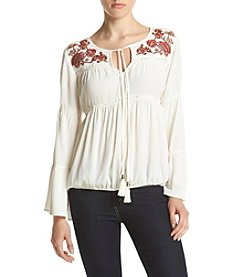 Sequin Hearts® Embroidered Yoke Peasant Top