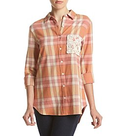 Hippie Laundry Lace Detail Plaid Button Up Top