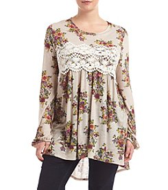 Eyeshadow® Plus Size Floral Print Tunic With Lace Detail