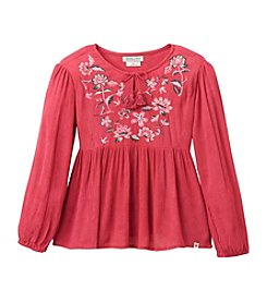 Lucky Brand® Girls' 7-16 Long Sleeve Embroidered Peasant Top