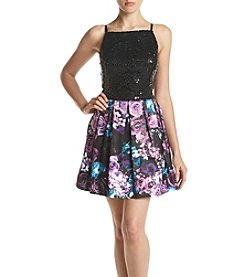 Emerald Sundae® Sequin Top Floral Skirt Two-Piece Dress